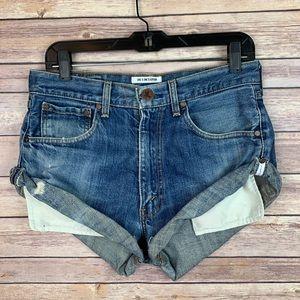 One Teaspoon Vintage Bandits Denim Cuffed Shorts